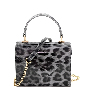 HPC3296 Leopard Print Patent Small Top-Handle Box Flap Satchel Gray