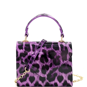 HPC3296 Leopard Print Patent Small Top-Handle Box Flap Satchel Purple