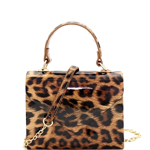 HPC3296 Leopard Print Patent Small Top-Handle Box Flap Satchel Brown