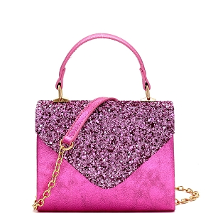 HPC3297 Mixed-Material Glittery Metallic Small Top-Handle Box Flap Satchel Pink