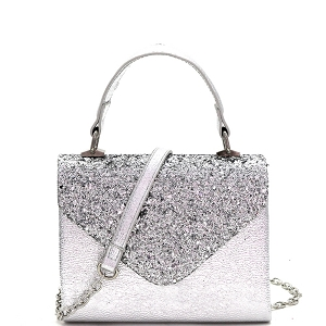 HPC3297 Mixed-Material Glittery Metallic Small Top-Handle Box Flap Satchel Silver