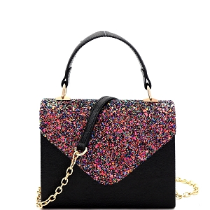 HPC3297 Mixed-Material Glittery Metallic Small Top-Handle Box Flap Satchel Black