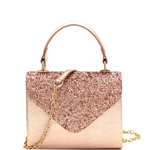 HPC3297 Mixed-Material Glittery Metallic Small Top-Handle Box Flap Satchel Rose-Gold