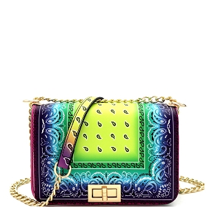 HPC3453 Turn-lock Accent Boho Printed Multicolor Shoulder Bag Cross Body Green