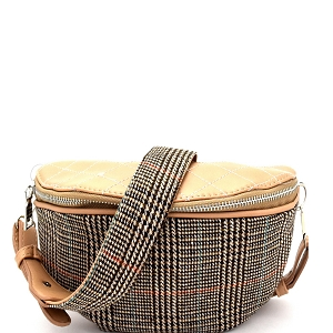 PB6997 Checker Plaid Print Mixed-Material Fashion Fanny Pack Beige