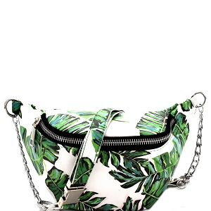 PB7027 Tropical Leaf Print Chained Strap Fanny Pack