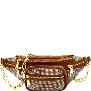PB7325 Rhinestone Accent Multi-Pocket Chain Fanny Pack Camel