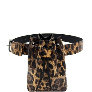 PB7691 Leopard Print Drawstring Fanny Pack with Belt