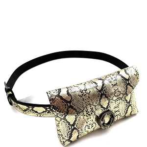 PB7618 Buckle Accent Metallic Snake Print Fanny Pack with Belt Gold