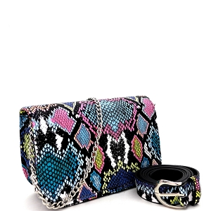 PB7685 Snake Print 2-Way Shoulder Bag Fanny Pack with Belt Blue