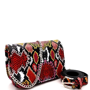 PB7685 Snake Print 2-Way Shoulder Bag Fanny Pack with Belt Red
