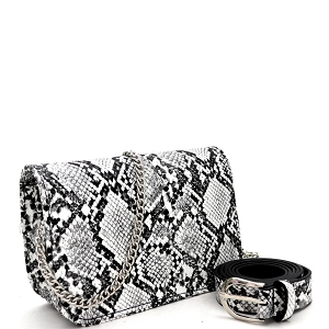 PB7685 Snake Print 2-Way Shoulder Bag Fanny Pack with Belt Black/White