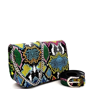 PB7685 Snake Print 2-Way Shoulder Bag Fanny Pack with Belt Multi