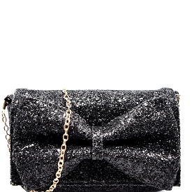 PPC5207 Bow Accent Glittery Clutch Shoulder Bag Black