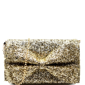 PPC5207 Bow Accent Glittery Clutch Shoulder Bag Gold