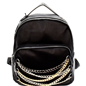 PP6478 Chain Accent Front Pocket Fashion Backpack Black