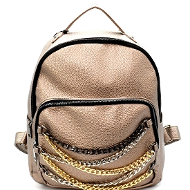 PP6478 Chain Accent Front Pocket Fashion Backpack Hematite