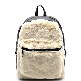 PP6502 Fur Accent Front Pocket Fashion Backpack Ivory