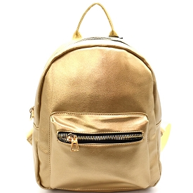 PP6526 Front Pocket Faux-leather Fashion Backpack Gold