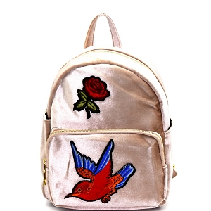 PP6541 Bird Flower Embroidery Faux-Velvet Fashion Backpack Nude
