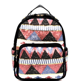 PP6542 Tribal Design Sequin Fashion Backpack Pink