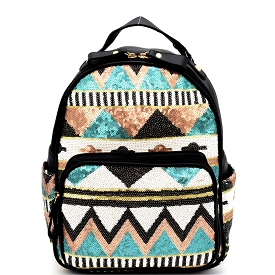 PP6542 Tribal Design Sequin Fashion Backpack Mint