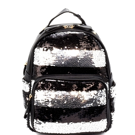 PP6543 Striped Sequin Fashion Backpack Black