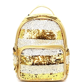 PP6543 Striped Sequin Fashion Backpack Gold