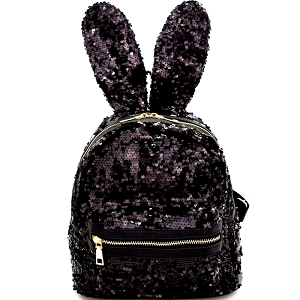 PP6605 Unique Bunny Ear Sequin Flashy Fashion Backpack Black