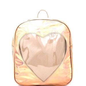 PP6663 Heart-Shaped Picture Window Accent Metallic Fashion Backpack Rose-Gold