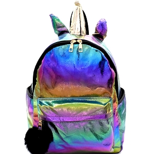 PP6690 Unicorn Theme Pom Pom Iridescent Metallic Novelty Backpack Black