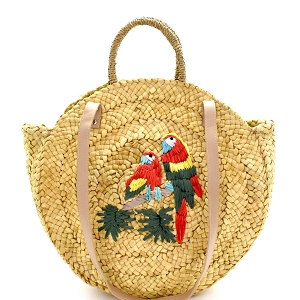 PP6705 Parakeet Embroidered Woven Straw 2-Way Round Satchel