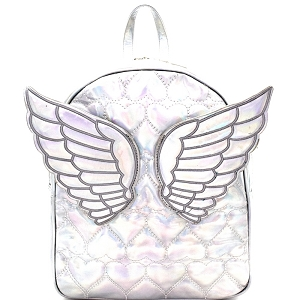 PP6745 Iridescent Metallic Angel Wing Heart Pattern Novelty Backpack Silver
