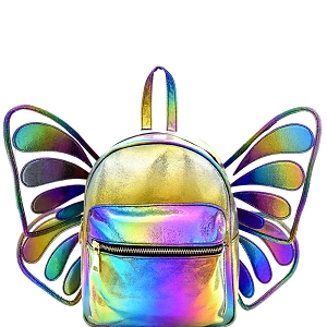 PP6766 Iridescent Metallic Removable Butterfly Wing Novelty Backpack Multi