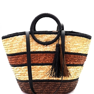 PP6883 Multi-Color Striped Straw Round Handle 2-Way Tote Brown