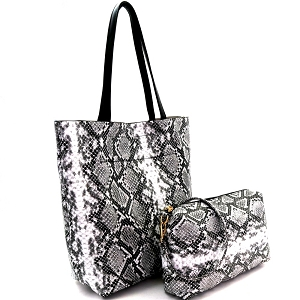 PP6866 Snake Print 2 in 1 Tall Shopper Tote Black