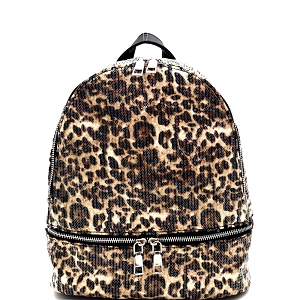 PP6976 Sequin Leopard Print Fashion Backpack Brown