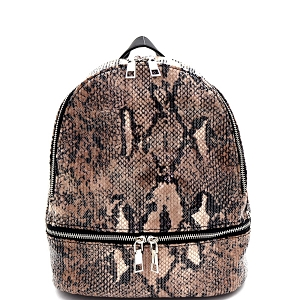 PP6977 Sequin Snake Print Fashion Backpack Brown