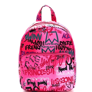 PP7023 Graffiti Effect Medium Fashion Backpack Fuchsia