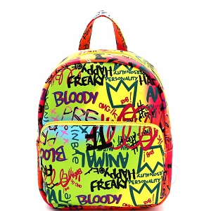 PP7023 Graffiti Effect Medium Fashion Backpack Multi