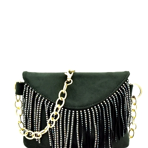 PB7268 Rainbow Stud Accent Fringed 2-Way Fanny Pack Green