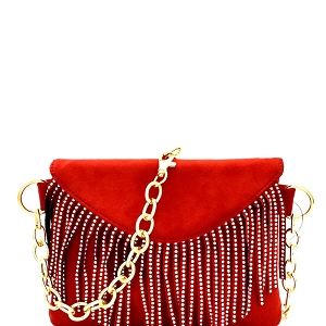 PB7268 Rainbow Stud Accent Fringed 2-Way Fanny Pack Red