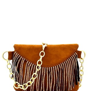 PB7268 Rainbow Stud Accent Fringed 2-Way Fanny Pack Camel