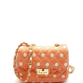 PPC3506 Polka Dot Pattern Quilted Turn-lock Flap Shoulder Bag Pink