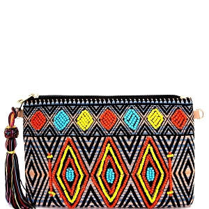 PPC3988 Colorful Tassel Accent Beaded Aztec Tribal Pattern Clutch Multi