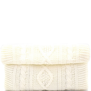 PPC5141 Cable Knit Roll-Up Clutch Ivory