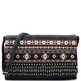 PPC5152 Bead and Embroidery Embellished Large Aztec Clutch Crossbody balck