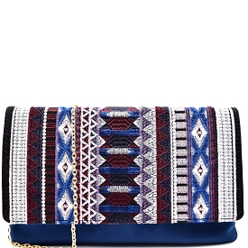 PP5171 Aztec Theme Embroidery Suede Flap Clutch Blue