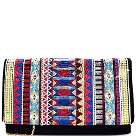 PP5171 Aztec Theme Embroidery Suede Flap Clutch Black