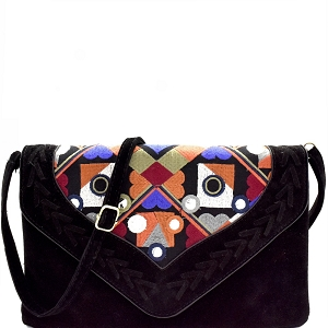 PPC5208 Colorful Embroidery Woven Felt-Suede Envelope Clutch Black